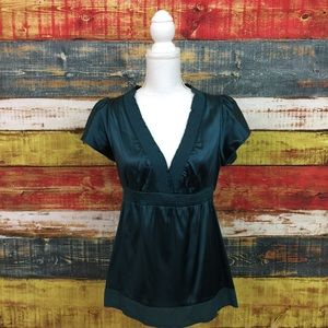 BCBGMAXAZRIA Silk Blouse Size S Deep V Satin